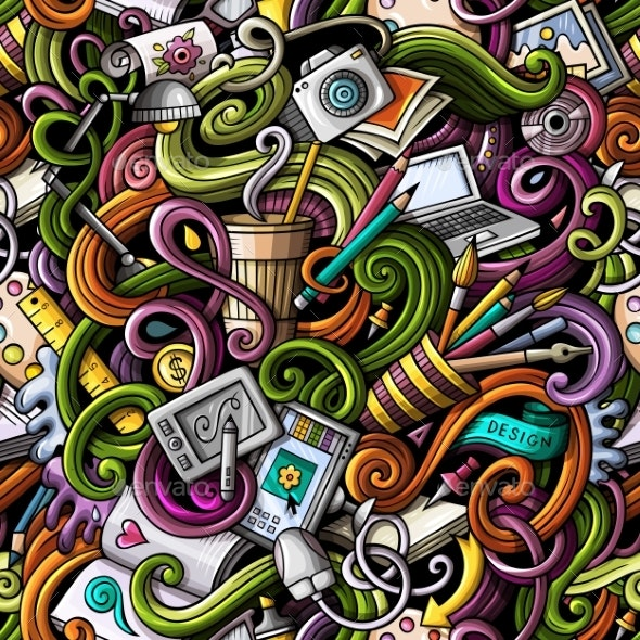 Cartoon Doodles Art and Design Seamless Pattern - Computers Technology