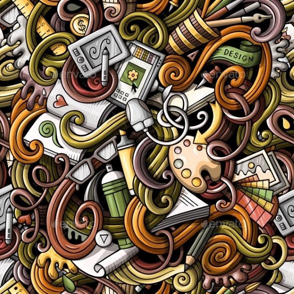 Cartoon Doodles Art and Design Seamless Pattern - Computers Technology