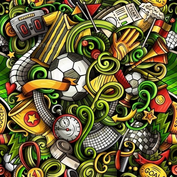 Cartoon Doodles Soccer Seamless Pattern - Sports/Activity Conceptual