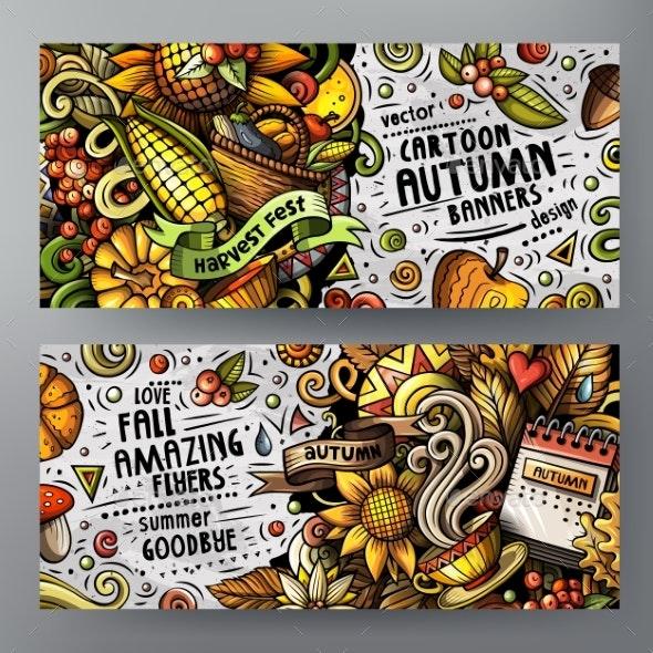 Cartoon Vector Doodles Autumn 2 Horizontal Banners - Seasons Nature