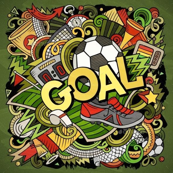 Cartoon Doodles Hand Drawn Goal Illustration - Sports/Activity Conceptual