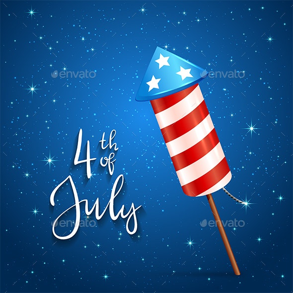 Firework and Text 4th of July on Blue Background - Miscellaneous Seasons/Holidays