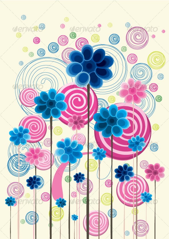 Floral background in vibrant beautiful shades - Decorative Vectors