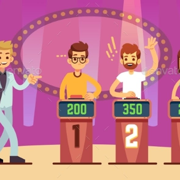 Clever Young People Playing Quiz Game Show