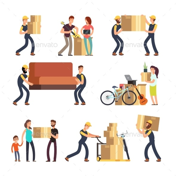 Family Moving Into New House. - People Characters