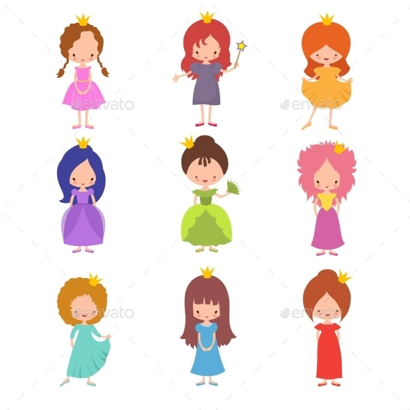 Kids Fashion Show Characters. Little Princesses - People Characters