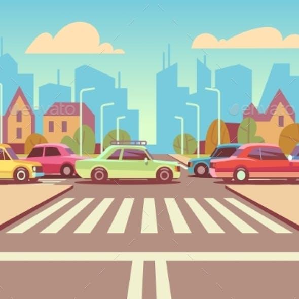 Cartoon City Crossroads with Cars in Traffic Jam