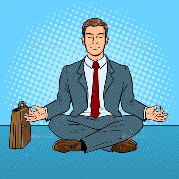 Meditating Businessman Pop Art Vector Illustration - Miscellaneous Vectors