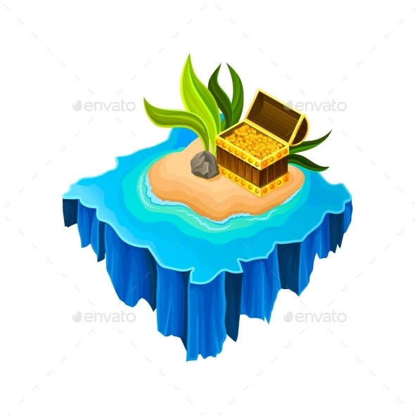 Isometric Sandy Island Surrounded by Blue Water - Miscellaneous Vectors