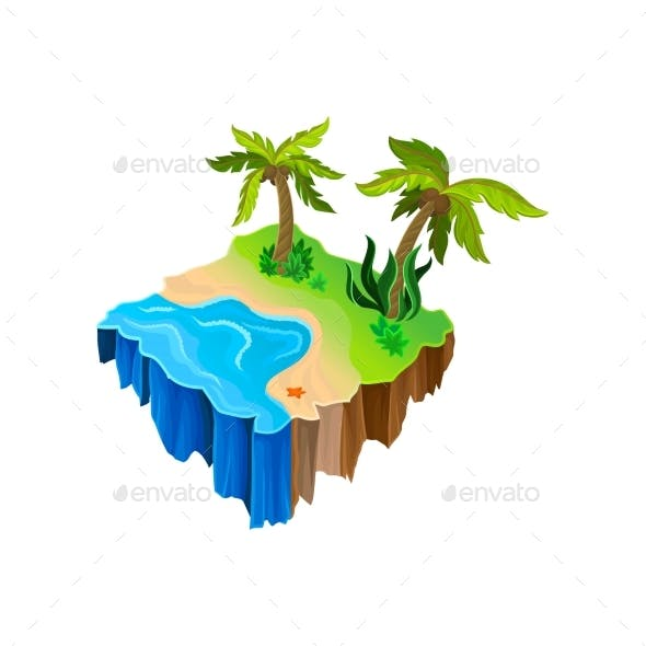 Isometric Nature Landscape with Water and Sandy Shore