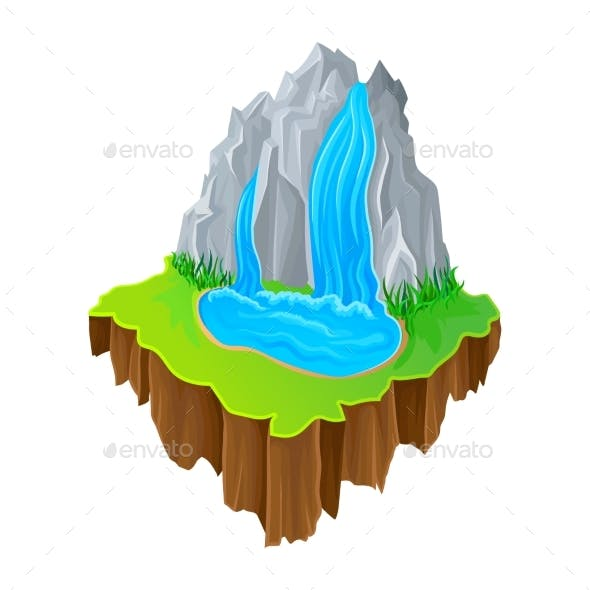 Isometric Island with Waterfall and Green Grass