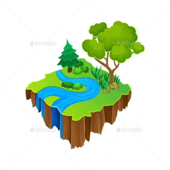 Isometric Island with Blue River