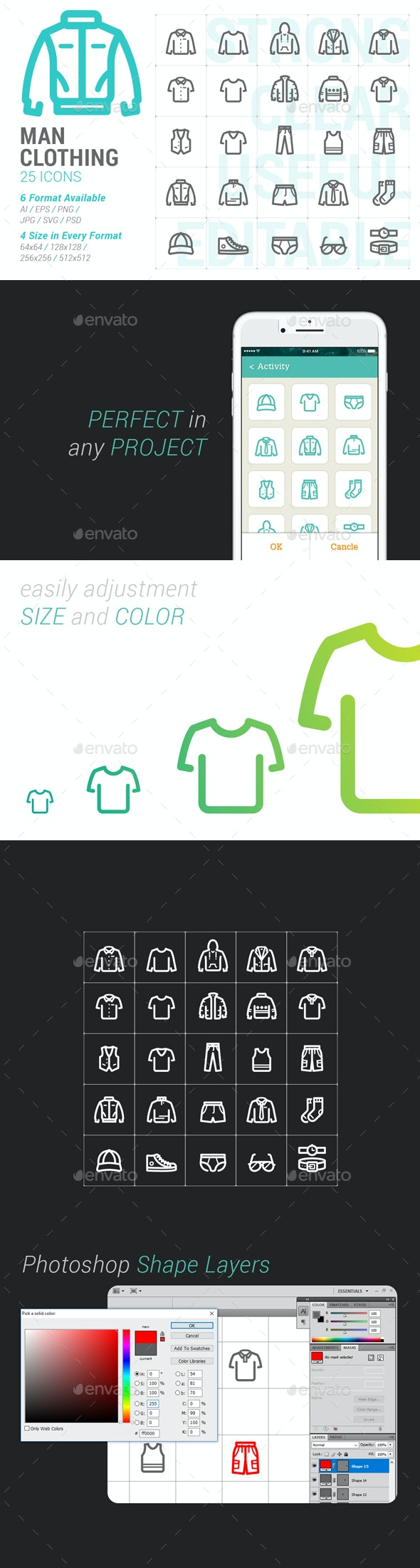 Clothing Man Mini Icon - Objects Icons