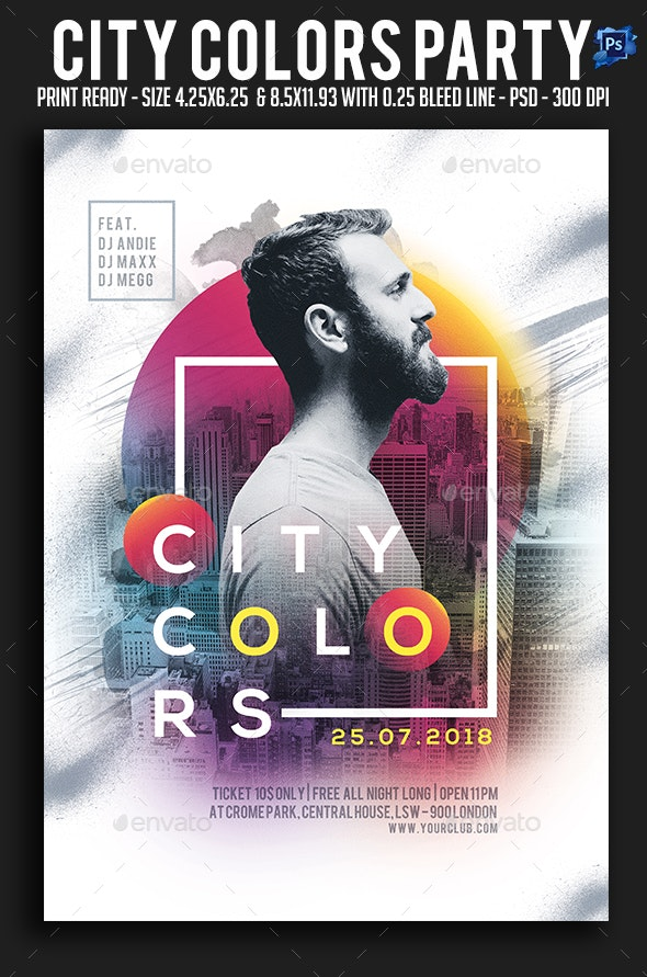 City Colors Party Flyer - Clubs & Parties Events