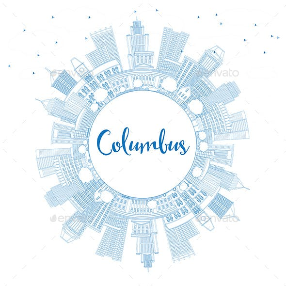 Outline Columbus Skyline with Blue Buildings and Copy Space