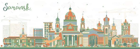 Saransk Russia City Skyline with Color Buildings - Buildings Objects