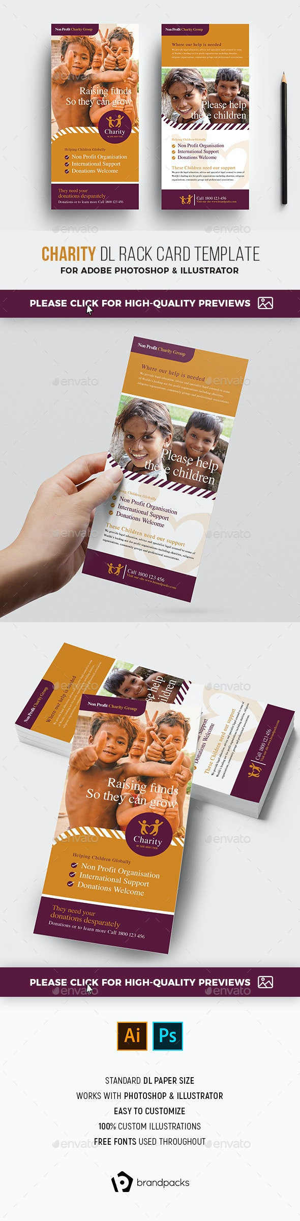 Charity DL Rack Card Template - Corporate Flyers