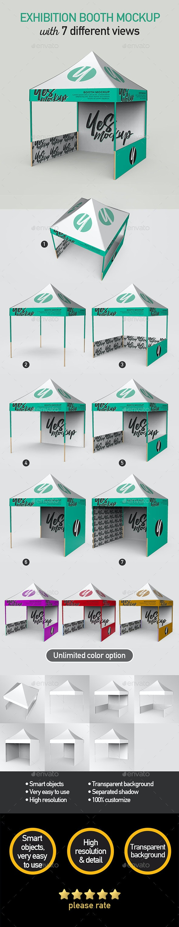 Exhibition Booth Mock up with 7 PSD Files - Product Mock-Ups Graphics