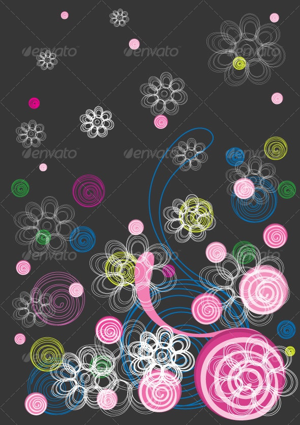 Floral background in black and pink - Decorative Vectors