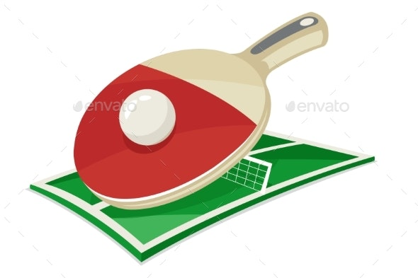 Table Tennis Racket Ball Field Sport Cartoon - Man-made Objects Objects