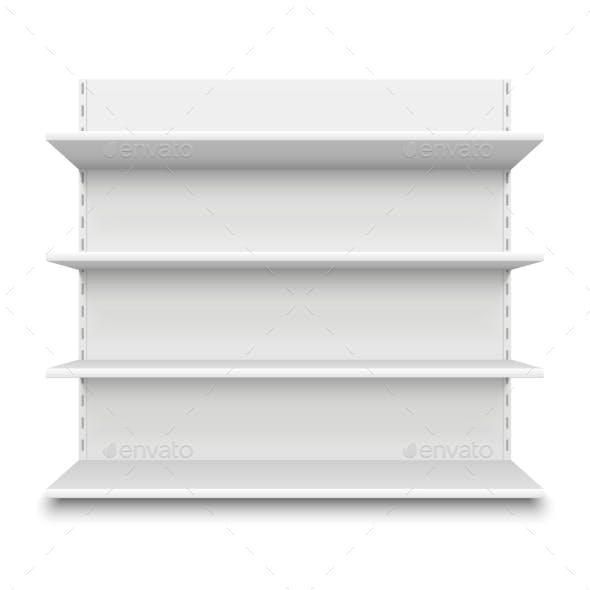 Empty Supermarket Shelf. Retail Store White Blank