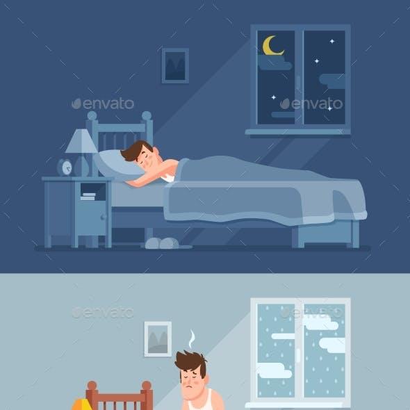 Man Sleeping Under Duvet at Night, Waking Up