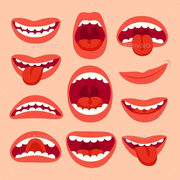 Cartoon Mouth Elements Collection. Show Tongue - People Characters