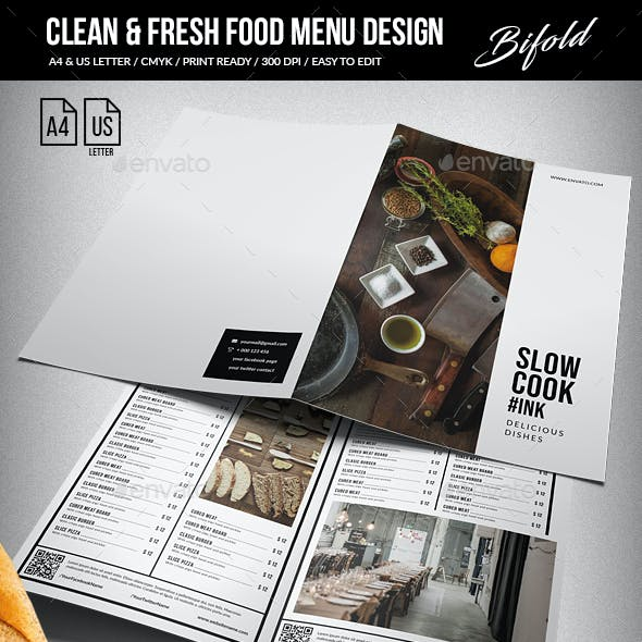 Clean & Fresh Bifold Food Menu A4 & US Letter