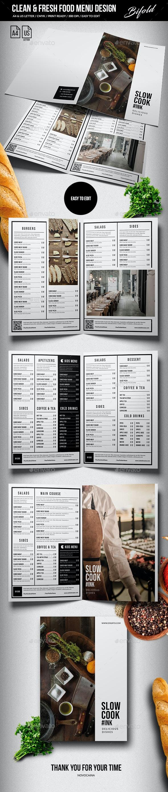 Clean & Fresh Bifold Food Menu A4 & US Letter - Food Menus Print Templates