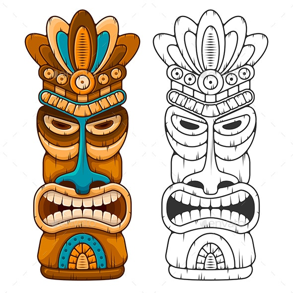 Tiki Wooden Mask - Miscellaneous Characters