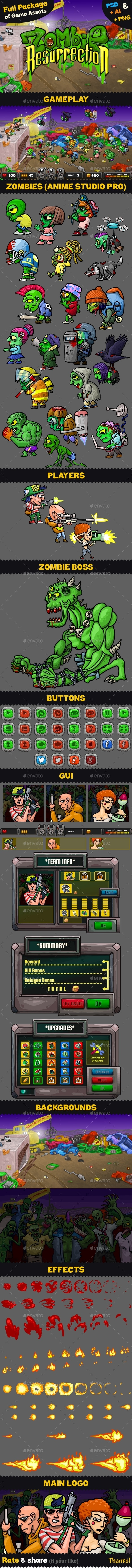 Game Assets for Zombie Resurrection - Game Kits Game Assets