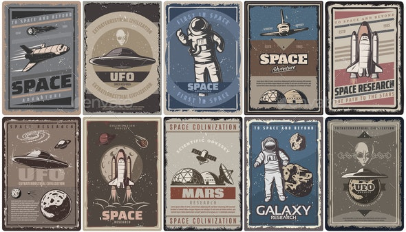Vintage Colored Space Posters - Miscellaneous Vectors