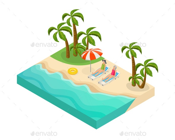 Isometric Retired People Summer Vacation Concept - People Characters