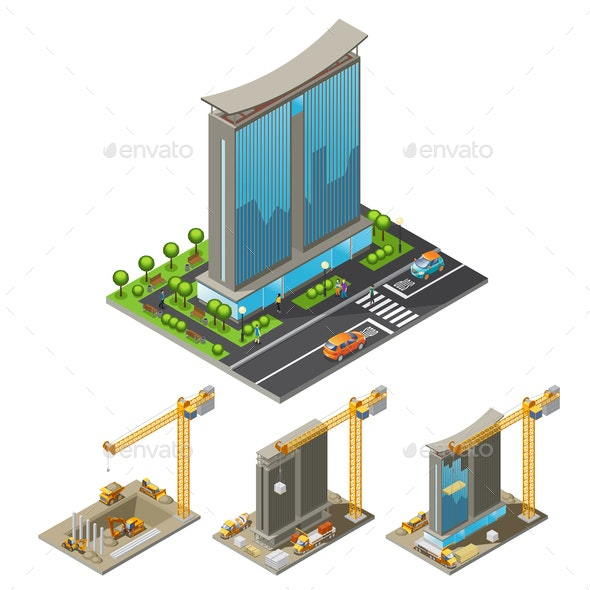 Isometric Building Construction Process Concept - Industries Business