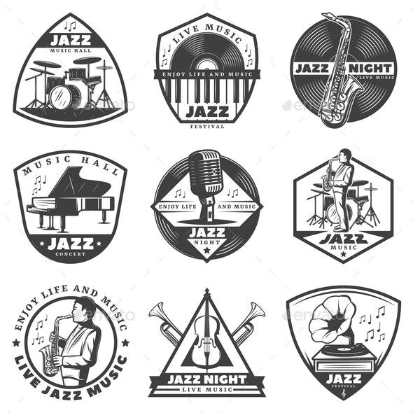 Vintage Monochrome Jazz Music Labels Set - Decorative Symbols Decorative