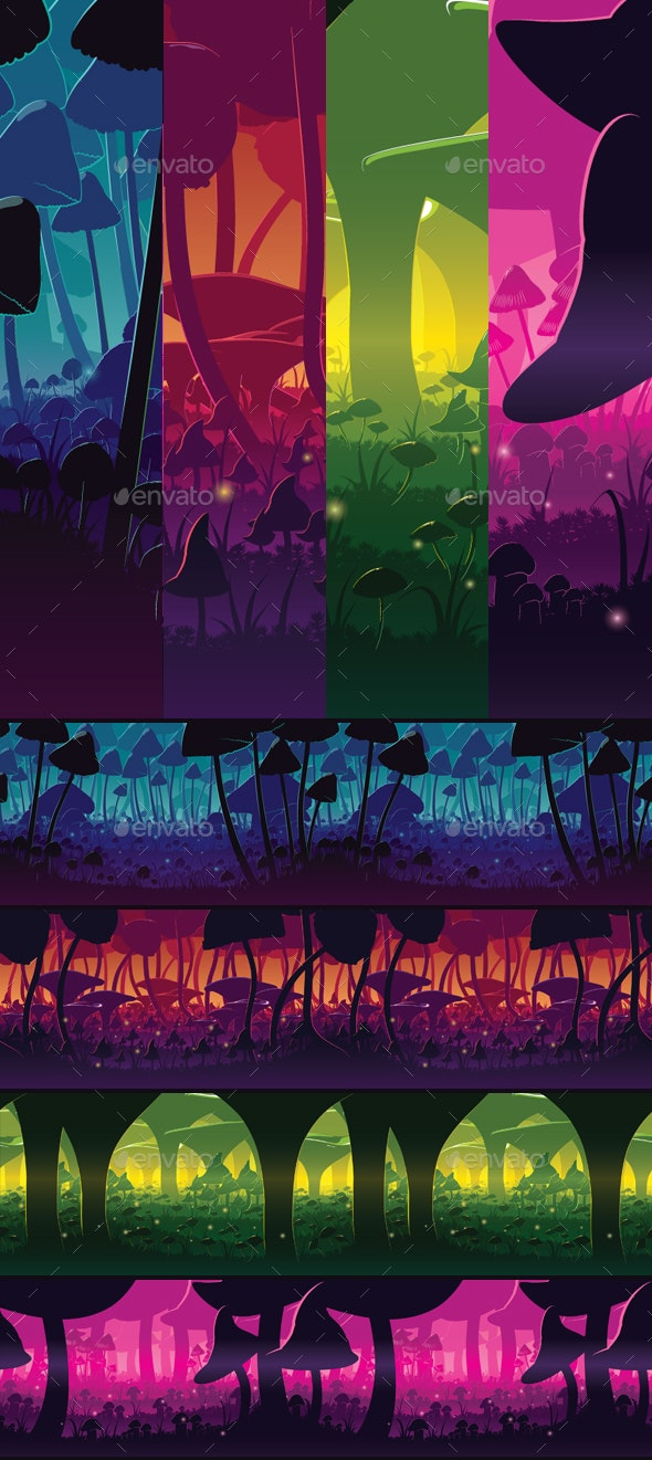 4 Horizontal Seamless Backgrounds With Deep Mushroom Forest - Backgrounds Game Assets
