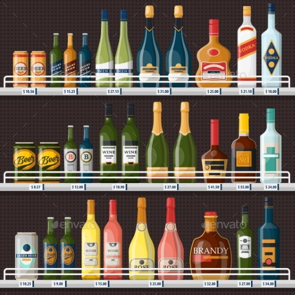 Showcase with Alcohol Drinks or Beverages - Food Objects