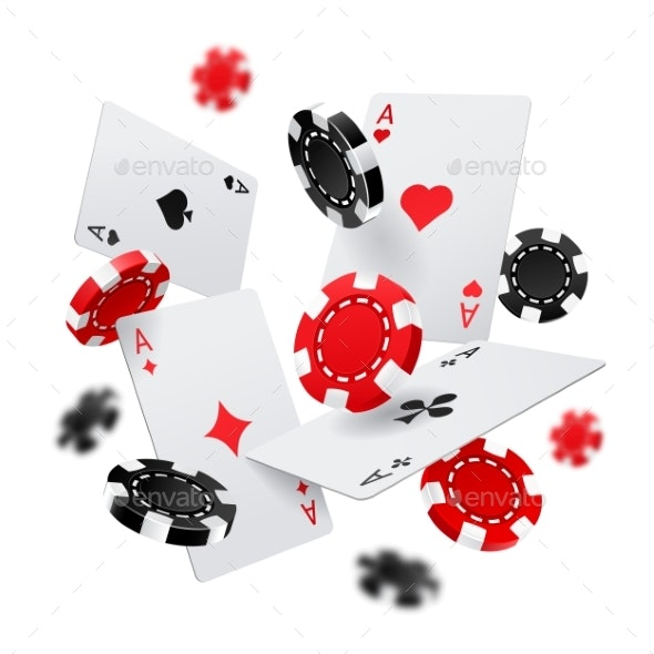 Casino Banner with Poker Chips and Cards - Miscellaneous Vectors