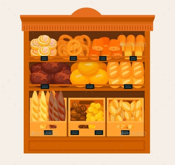 Showcase, Stand or Stall with Bread and Pastry - Food Objects