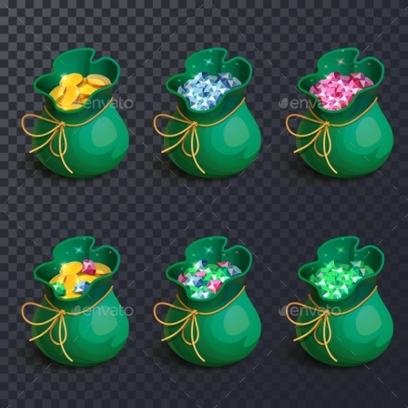 Isolated Bags with Gems and Golden Coins - Objects Vectors