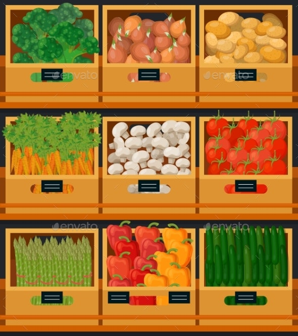 Vegetables at Market in Wooden Boxes with Prices - Food Objects