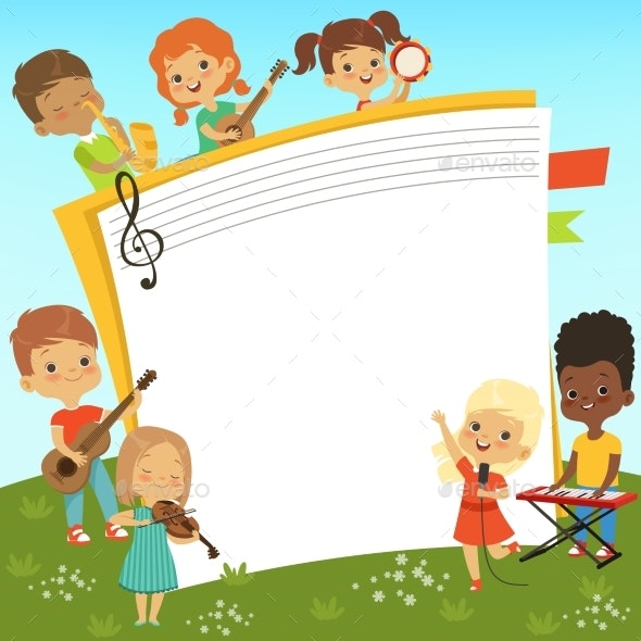 Cartoon Frame with Musician Childrens and Empty - People Characters