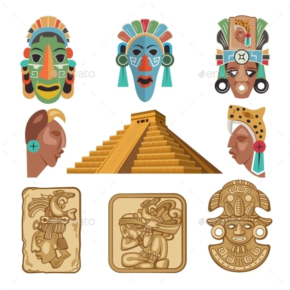 Historical Symbols of Mayan Culture. Religion - Buildings Objects