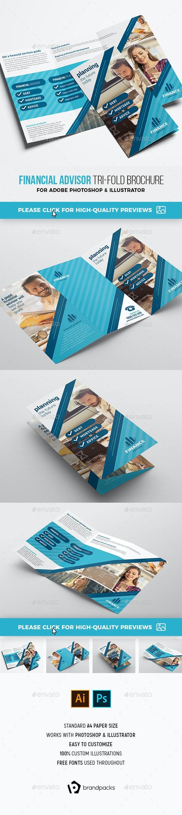 Financial Advisor Trifold Brochure Template - Corporate Brochures