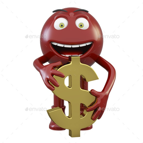 Joyful Little Man with a Dollar - 3D Renders Graphics