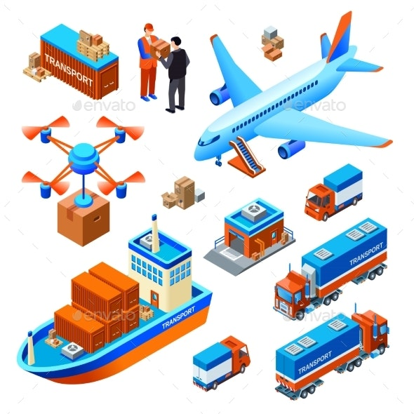 Logistics Delivery Transport Vector Illustration - Communications Technology