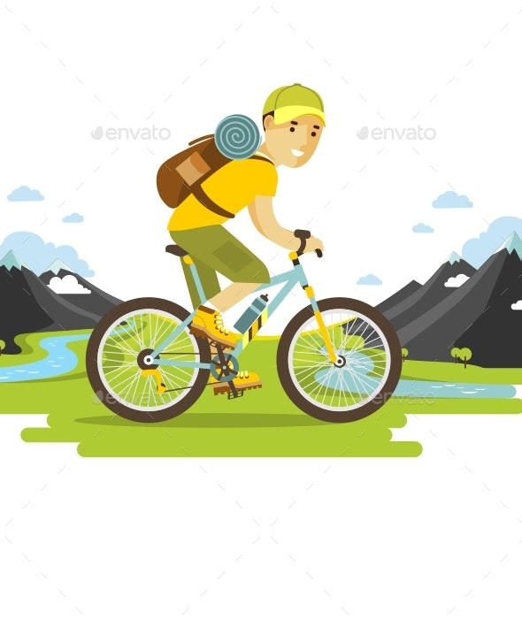 Bike Man Travel - Sports/Activity Conceptual