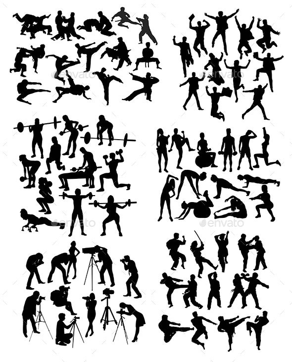 Sport Activity People Silhouettes - Sports/Activity Conceptual