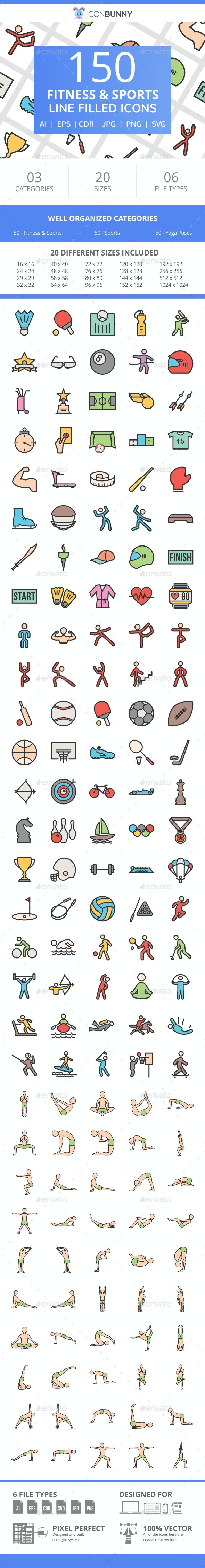150 Fitness & Sports Filled Line Icons - Icons
