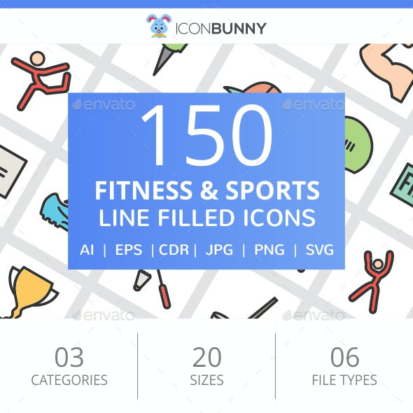 150 Fitness & Sports Filled Line Icons